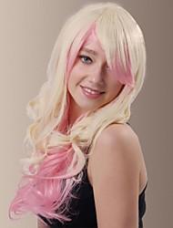couleur mixte de charme longs cheveux de fibre synthétique perruques côté tape cheveux ondulés