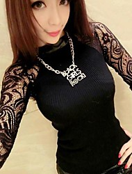 Women's Round Collar  Long Sleeve Lace Stitching Knitting Coat