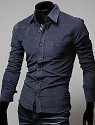 g&y chemise à manches longues décontracté (bleu, gris foncé, jaune)