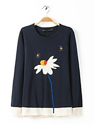 Women's Round Collar Pepper Potts Lotus Embroidery Bee Sweater