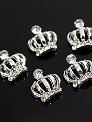 10pcs Glitter Rhinestone Queen's Holy Crown 3D Alloy Nail Art Decoration