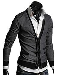 abrigo de bolsillo del suéter cardigan falso (gris)