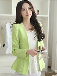 Falari Women's New Korean Slim Lotus Leaf Edge Long Sleeve Blazer Coat Suit