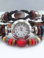 Women's Vintage Bead Leather Handmade Weave Band Quartz Analog Bracelet  Watch