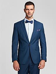 polyester bleu coupe près du corps costume deux pièces