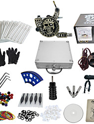 1 Gun Complete No Ink Tattoo Kit with Engraved Tatoo Machine and Lion Pattern Power Supply