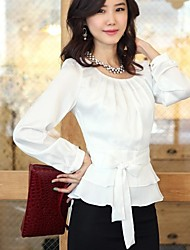 Women's Solid Pink/White Blouse , Casual Round Neck Long Sleeve Bow/Ruffle/Pleated