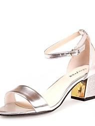 Zapatos de mujer - Tacón Robusto - Punta Abierta - Sandalias - Oficina y Trabajo - Semicuero - Plata / Oro