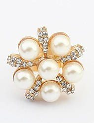 Ring Women's Imitation Pearl / Rhinestone Alloy Alloy Adjustable Gold