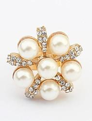 Fashion Sweet Pearl Rhinestone Adjustable Ring