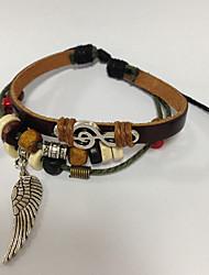 z&pulseira de couro X® simplesmente pulseira de multicamadas com asa