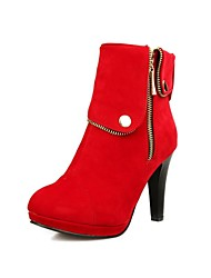 Women's Shoes Suede Fall / Winter Fashion Boots Dress Chunky Heel Zipper Black / Brown / Red
