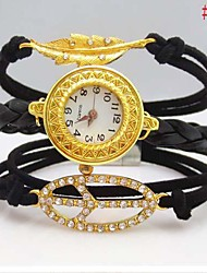 Women's Letter Loving Heart Leaf Leather Weave Band Quartz Analog Bracelet  Watch(Assorted Colors)