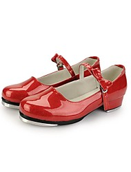 Non Customizable Women's Dance Shoes Tap Leatherette/Patent Leather Low Heel Red/White