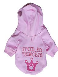 princesa Spolied padrão hoodie para cães (rosa, xs, m, l)