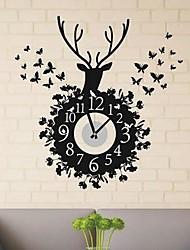 stickers muraux autocollants de mur, modernes et simples cerf sika papillon horloge murale PVC autocollants
