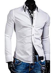 Clark Men's Double-Deck Check Contrast Color Long Sleeve Shirt
