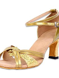 Non Customizable Women's Dance Shoes Latin Satin/Leatherette Low Heel Silver/Gold