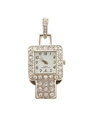 ZP 16GB Silver Pendant Watch Pattern Crystal Jewelry Style with Clock USB Flash Drive