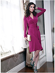 Women's V Neck Solid Color Chalaza Dress Solid Color Dress