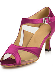 Non Customizable Women's Dance Shoes Latin Satin Stiletto Heel Fuchsia