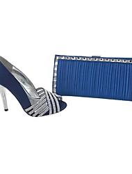 Calçados Femininos - Saltos - Peep Toe / Sapatos com Bolsa Combinando - Salto Agulha - Azul - Cetim - Social / Festas & Noite