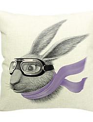 Coelho dos desenhos animados de algodão / linho fronha decorativo