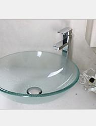Современный прозрачного закаленного раковины стеклянный сосуд со смесителем набор