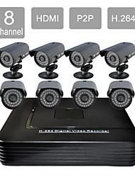 8 canal HDMI DVR CCTV 8 exterior / interior de segurança visão kit sistema de câmera 806cdb08v