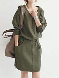 Women's Elastic Band Waist Linen Loose V Neck Dress