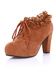 Women's Shoes Round Toe Platform Chunky Heel Flocking Ankle Boots with Lace-up More Colors available