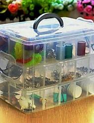 Boîte de rangement en plastique transparent 5.12''h trois grille amovible
