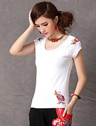Silu Women's Flower Embroidery Cotton All Match Slim T-shirt