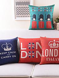 Set of 4 Cartoon London Crew Cotton/Linen Decorative Pillow Cover
