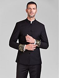 poliéster negro adaptado ajuste traje de dos piezas