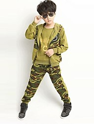 Boy's Fashion And Personality Camouflage Three Piece Clothing Set