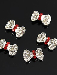 10pcs Red Gitter Rhinestone BOWS TIE 3D Alloy Nail Art Decoration