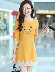 ousixiu moda coreano temperamento senhora 3/4 manga vestido amarelo