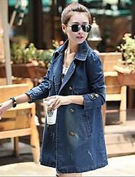 Women's Blue Denim Jacket , Casual Long Sleeve