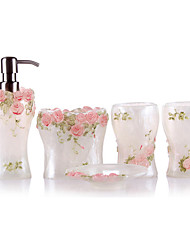 5 Piece Bath Collection Set Resin Material,Bath Ensemble,Bath Accessory Set