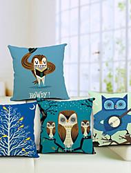 ensemble de 4 pays de belles hiboux coton / lin taie d'oreiller décoratif