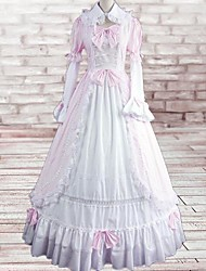 Long Sleeve Floor-length White and Pink Cotton Sweet Lolita Dress with Cravat