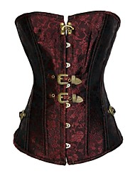 Women's Red Brocade Vintage Corset with Thong