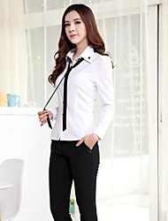 Women's Turtle Neck Solid Color Buckle Long Sleeve Shirts