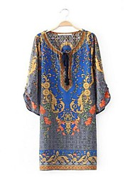 Women's V-Neck Baroque Postion Print Seven Sleeve Loose Casual Three Quarter Sleeve Mini Dress