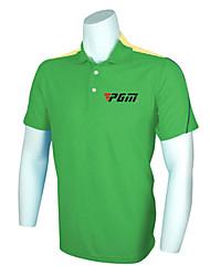 PGM Men's Polyester+Spandex Green Breathable Short Sleeve Golf Polo Shirt