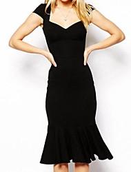 Women's Solid Black Dress , Sexy/Bodycon V Neck Short Sleeve