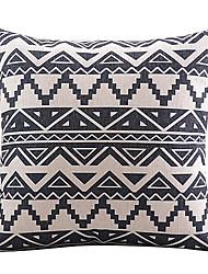 Black Geometric Mosaic Cotton/Linen Decorative Pillow Cover