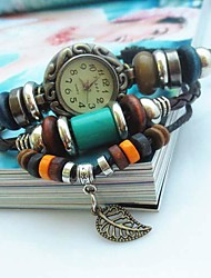 Women's Vintage Leaf Pendant Style Leather Handmade Weave Band Quartz Analog Bracelet  Watch Cool Watches Unique Watches