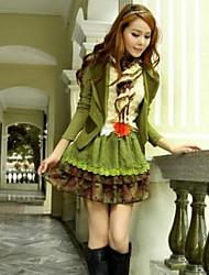 Women's Fashion Sweet Chiffon Two Pieces Suits (Coat & Dress)